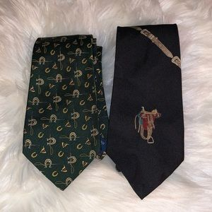Lot of 2 equestrian ties by Polo Ralph Lauren GUC
